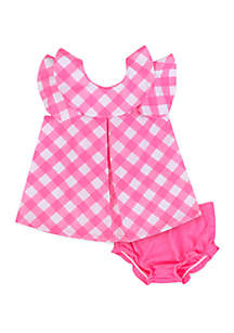Crown & Ivy™ Baby Girls Woven Gingham Dress and Diaper Cover Set