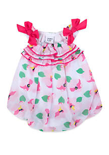 Crown & Ivy™ Baby Girls Pink Floral Bubble Romper