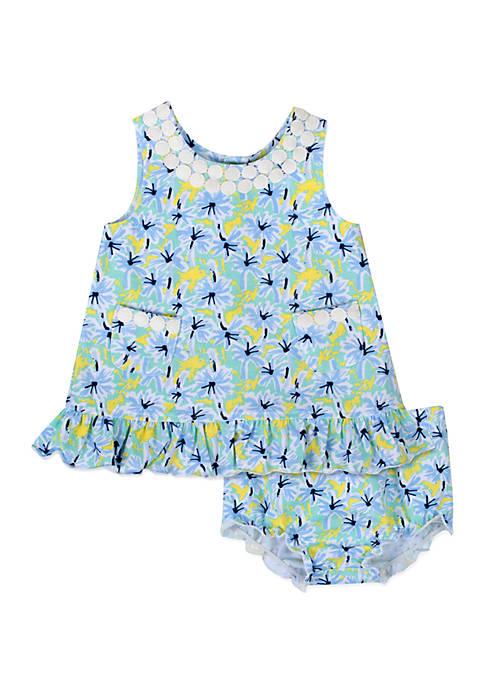 Baby Girls Palm Tree Printed Dress and Panty Set