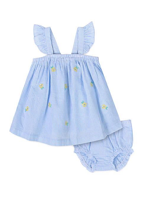 Baby Girls Blue Seersucker Stripe Dress and Panty Set
