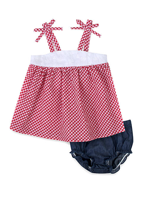 Baby Girls Red Check Dress Set