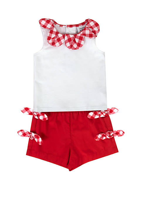 Baby Girls Red and White Short Set