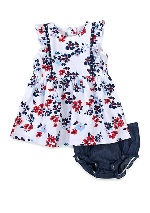 Baby Girls Floral Print Dress with Panty Set