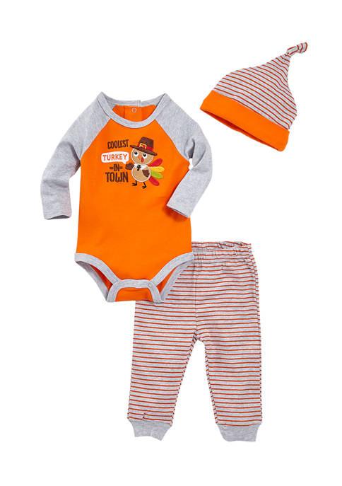 Crown & Ivy™ Baby Boys 3-Piece Turkey Set