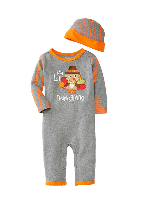 Crown & Ivy™ Baby Boys Turkey Coveralls