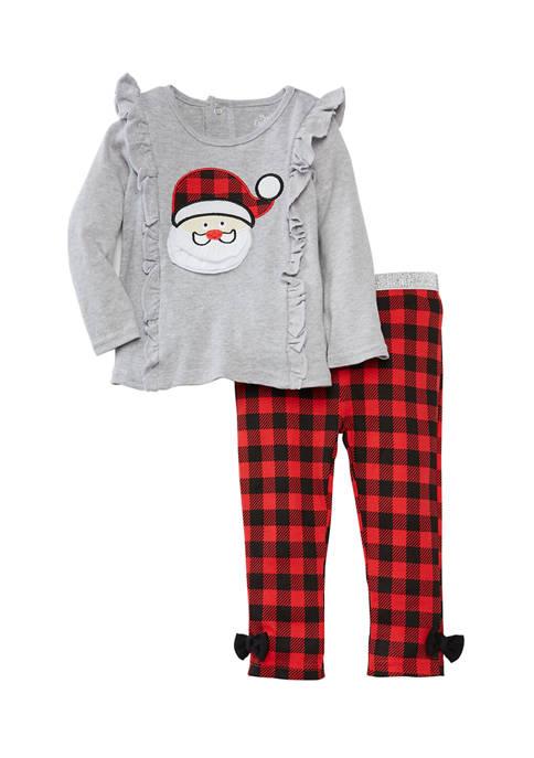 Baby Girls Santa 2-Piece Leggings Set