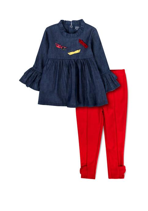 Crown & Ivy™ Toddler Girls Chambray Top Set