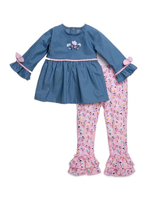 Toddler Girls Chambray Top and Legging Set