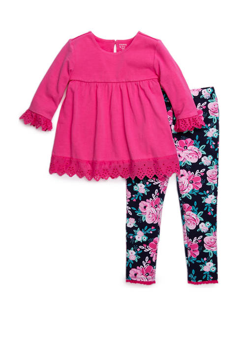 Toddler Girls Solid Top and Printed Legging Set