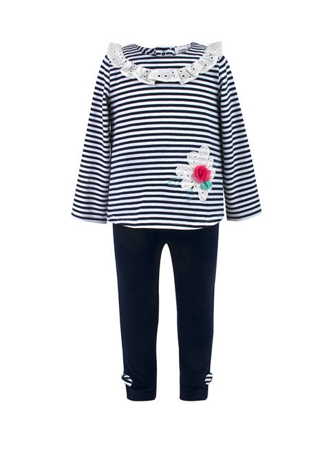 Crown & Ivy™ Toddler Girls Stripe Ruffle Top
