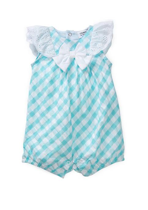 Crown & Ivy™ Baby Girls Green Check Poplin