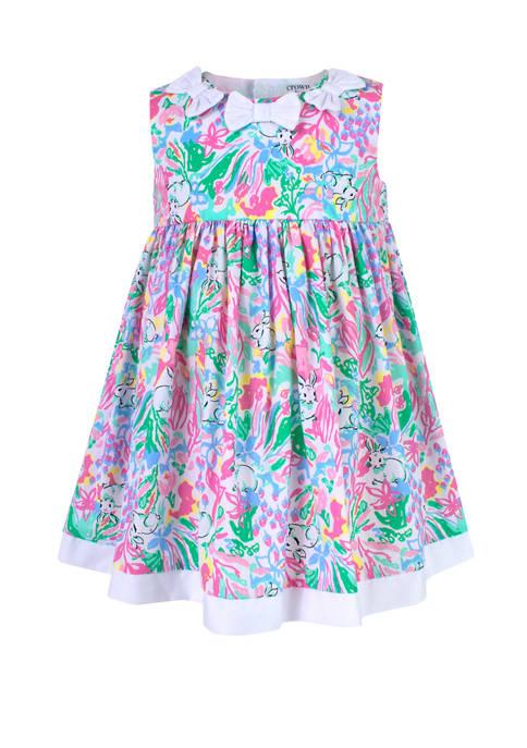 Crown & Ivy™ Baby Girls Printed Poplin Dress