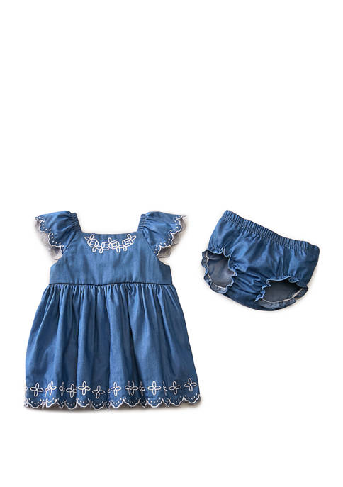 Crown & Ivy™ Baby Girls Chambray Dress and