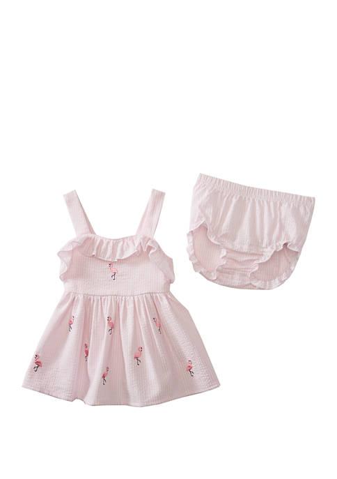 Crown & Ivy™ Baby Girls Flamingo Seersucker Dress
