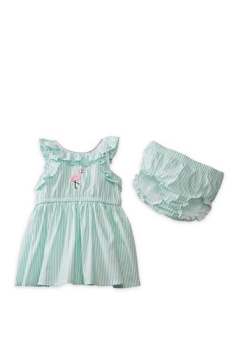 Crown & Ivy™ Baby Girls Flamingo Stripe Dress