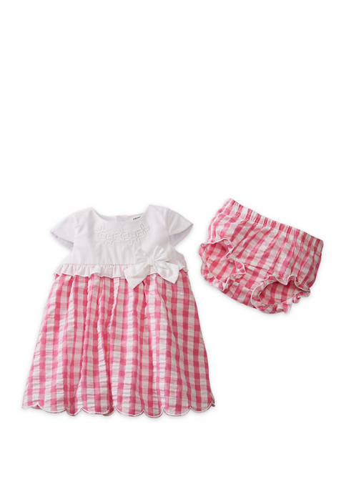 Crown & Ivy™ Baby Girls Pink Check Dress