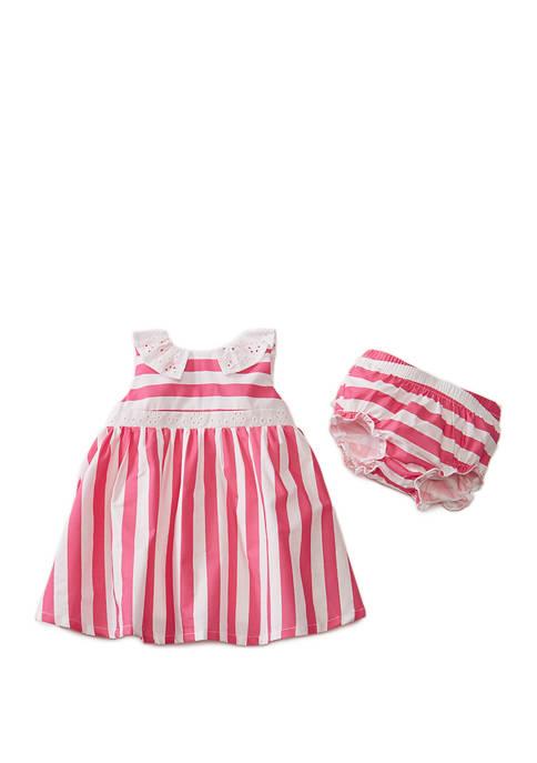 Crown & Ivy™ Baby Girls Pink Stripe Eyelet
