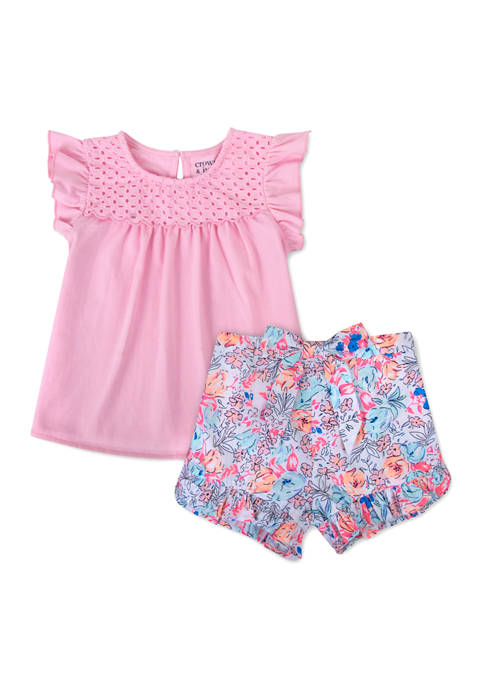Crown & Ivy™ Toddler Girls Ruffle Sleeve Patterned
