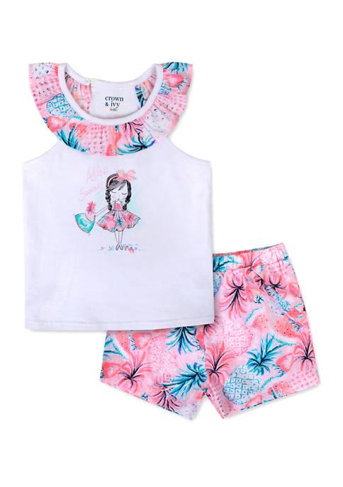 Crown & Ivy™ Toddler Girls Ruffled Tank and
