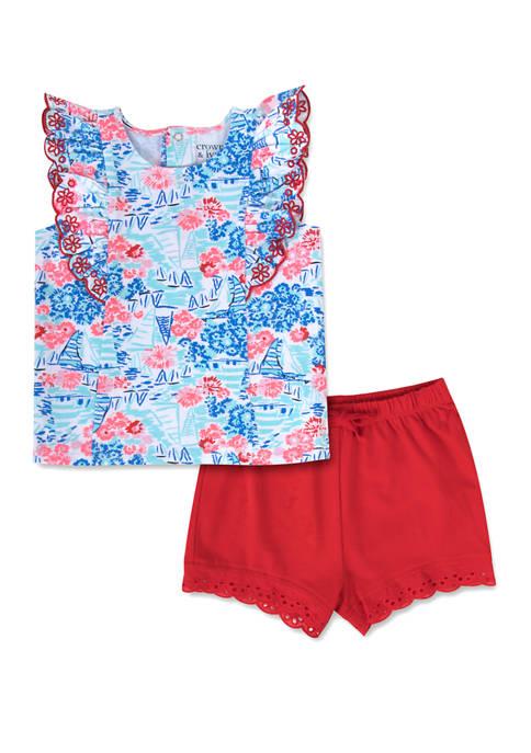 Toddler Girls Patterned Ruffle Sleeve Shorts Set