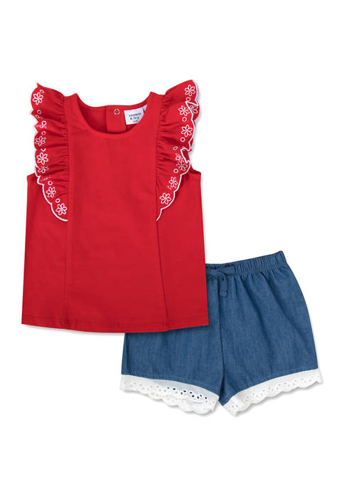 Crown & Ivy™ Toddler Girls Embroidered Sleeve Shorts