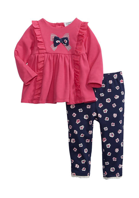 Crown & Ivy™ Baby Girls 2-Piece Pink Bow
