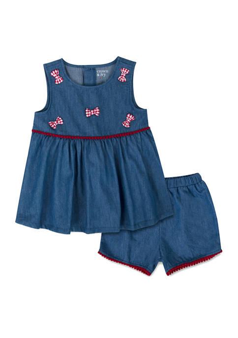 Crown & Ivy™ Toddler Girls Chambray Shorts Set