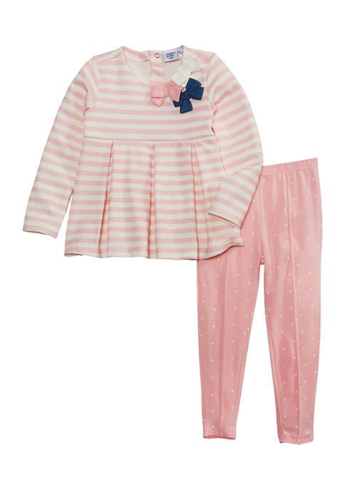 Crown & Ivy™ Toddler Girls Stripe Bow Ponte