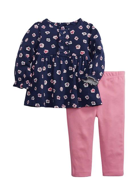 Crown & Ivy™ Toddler Girls Floral Babydoll Ponte
