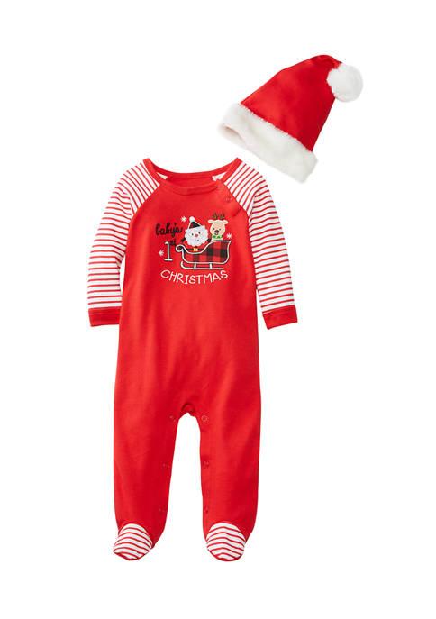 Crown & Ivy™ Baby Girls Christmas Sleigh Footies