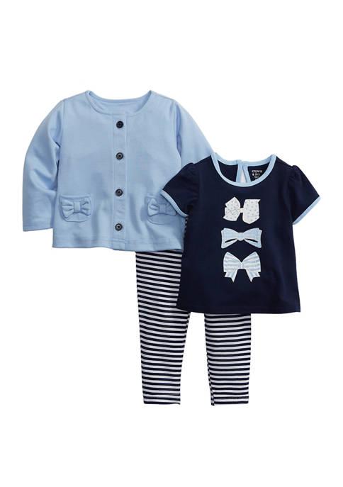 Crown & Ivy™ Baby Girls 3-Piece Bow Pocket