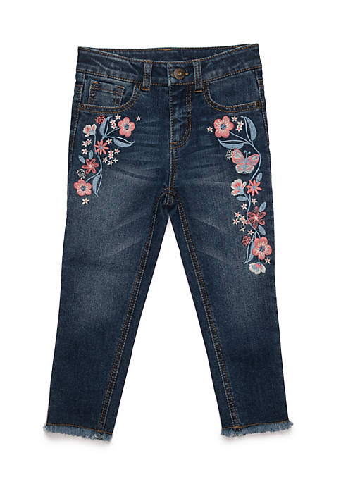 TRUE CRAFT Toddler Girls Embroidered Denim
