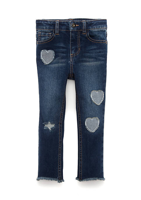 TRUE CRAFT Toddler Girls Heart Patch Denim Jeans