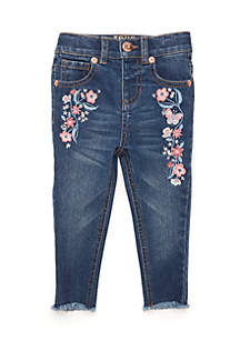 Infant Girls Embroidered Skinny Denim Pants