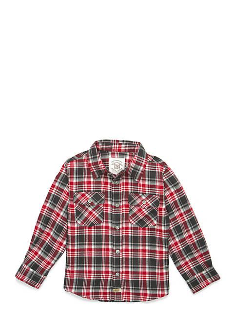 Toddler Boys Two Pocket Long Sleeve Woven Shirt