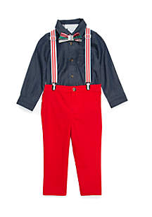 Crown & Ivy™ Infant Boys Woven Suspender Set