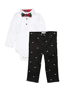 Baby Boys Polo Bodysuit And Bowtie Set