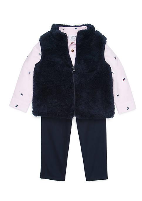 Crown & Ivy™ Infant Boys Sherpa Vest Set