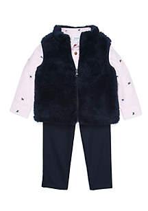 Infant Boys Sherpa Vest Set
