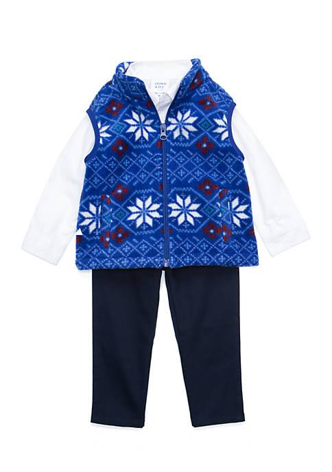 Crown & Ivy™ Baby Boys Microfleece Vest Set