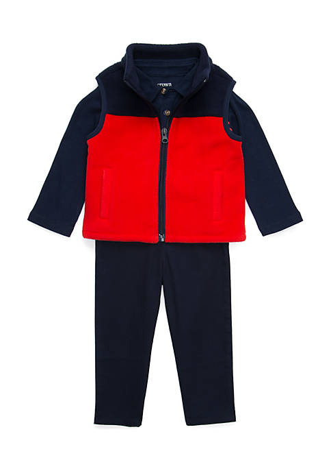 Crown & Ivy™ Baby Boys Polo Vest Set