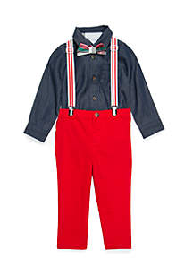 Infant Boys Woven Suspender Set