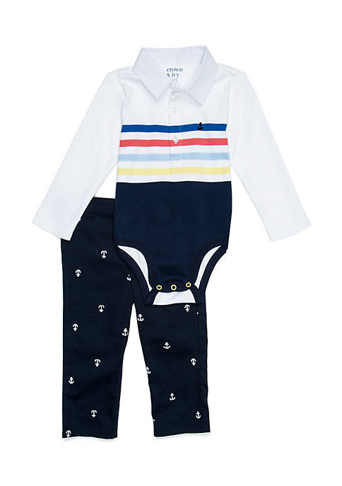 Baby Boys Polo Bodysuit Set