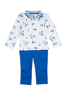 Crown & Ivy™ Baby Boys Rib Collar Polo Set