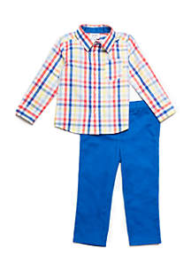 Crown & Ivy™ Baby Boys Roll Sleeve Button Front Set
