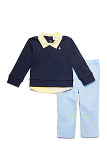 Baby Boys Woven and Knit Pullover Set