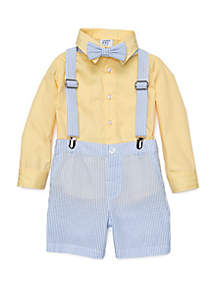 Crown & Ivy™ Baby Boys 4-Piece Suspender Set