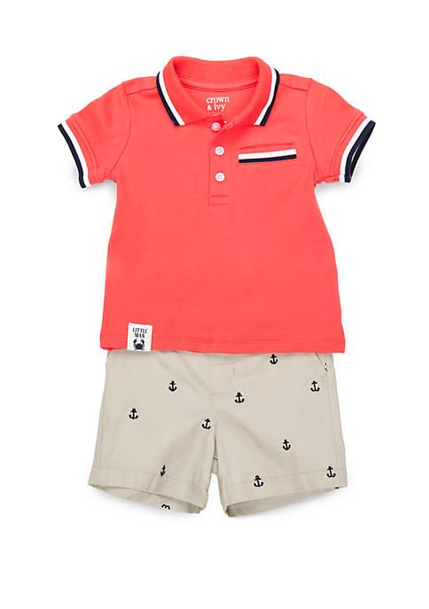 Baby Boys Ribbed Pocket Polo Set