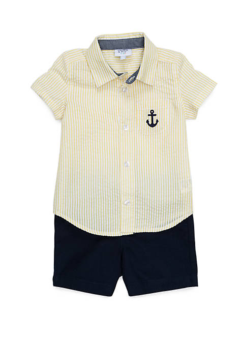 Crown & Ivy™ Baby Boys Button Front Shirt