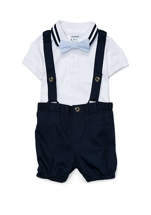 Crown & Ivy™ Baby Boys Suspender and Polo